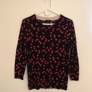 J. Crew Black + Red Cherry Merino Wool Sweater   S